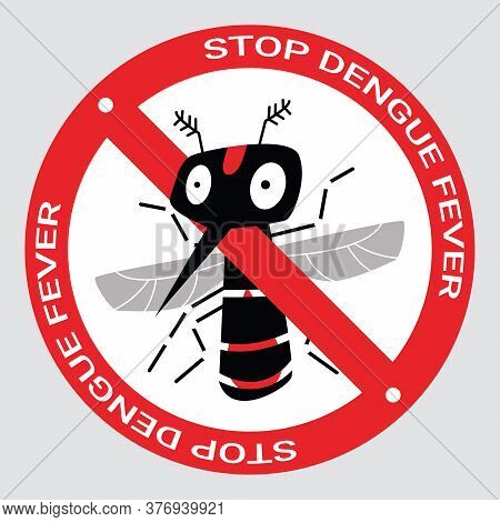 Stop Mosquito Bite To Protect Malaria, Zika Virus Or Dengue Fever Infection Concept. Red Prohibition
