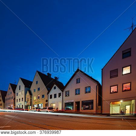 Schongau, Germany - September 25, 2014: Old City Centre With Traditional Architecture Of Bavaria, Ge