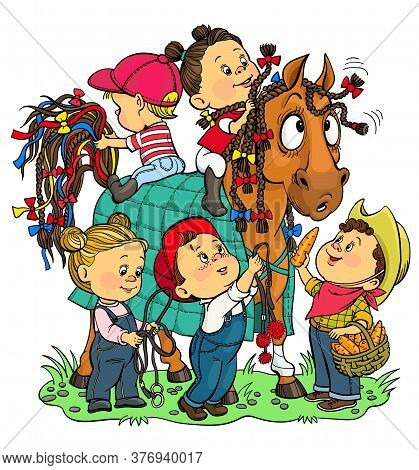 Vector Illustration. Funny Story At The Stable. Children Enthusiastically Decorate A Horse With Colo