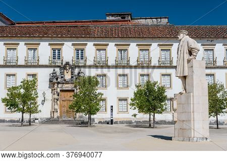 View On The Courtyard Of The Old University With University Tower In Coimbra City In The Central Por