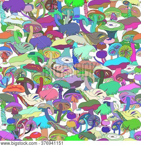 Bright Mushroom Patern. Seamless Cartoon Background, With Colorful Mushrooms. Endless Destiny Orname
