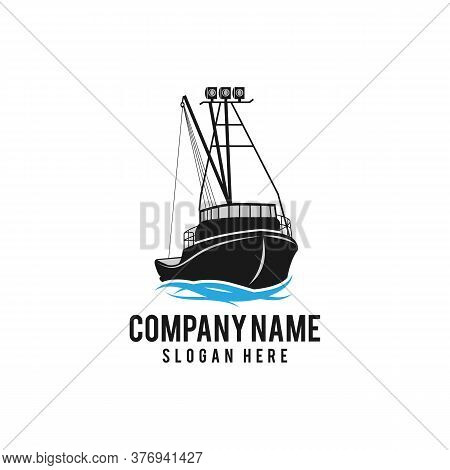 Fishing Logo Collection With Fisherman On Fish Boat, Fishing Boat Logo Template. Vector Illustration