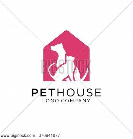 Dog And Cat Logo Design, Dog Cat Pet House Logo Vector Icon, Pet Shop, Dog Lover Logo Design Templat