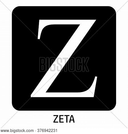 Uppercase Zeta Greek Letter Icon On Dark Background