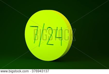 Yellow Clock 24 Hours Icon Isolated On Green Background. All Day Cyclic Icon. 24 Hours Service Symbo
