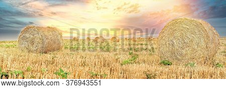 Straw Bale, Straw Rolls On Farmer Field And Dramatic Sunset Cloudy Sky