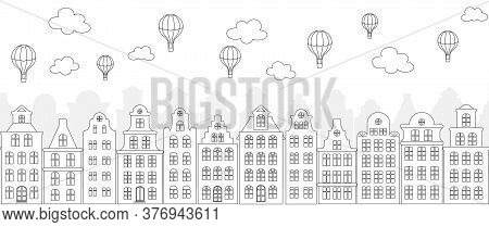 Monochrome Street Panorama With European Old Buildings, Facades Of Historical Houses In The Dutch St