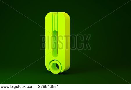 Yellow Curling Iron For Hair Icon Isolated On Green Background. Hair Straightener Icon. Minimalism C