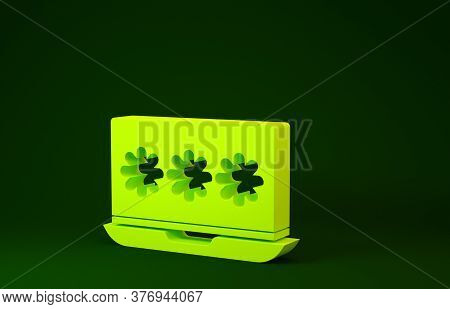 Yellow Laptop With Password Notification Icon Isolated On Green Background. Security, Personal Acces