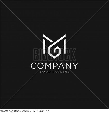 Modern Creative Unique Elegant Minimal Artistic Black And White Color Mg Gm M G Initial Based Letter