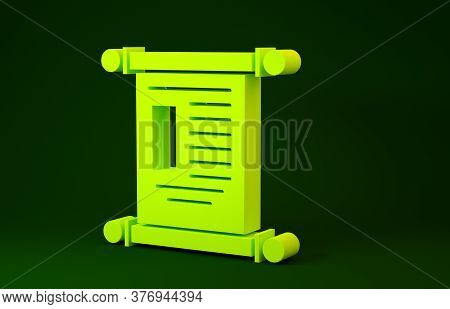 Yellow Decree, Paper, Parchment, Scroll Icon Icon Isolated On Green Background. Chinese Scroll. Mini