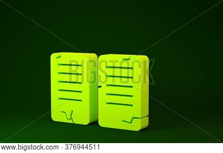 Yellow The Commandments Icon Isolated On Green Background. Gods Law Concept. Minimalism Concept. 3d