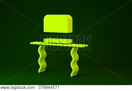 Yellow Orthodox Jewish Hat With Sidelocks Icon Isolated On Green Background. Jewish Men In The Tradi
