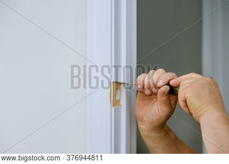 Wood Chisel Cutting Out Hole In For The Door Lock Working Chisel Punch
