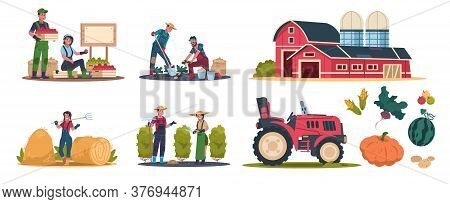 Cartoon Eco Farming. Agricultural Workers Doing Farming Job, Cropping And Selling Organic Products.