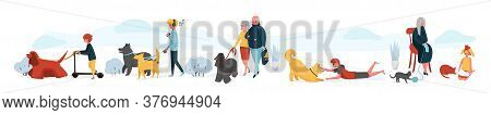 People And Pets At Home. Cartoon Young People Playing With Their Home Animals, People With Cats And