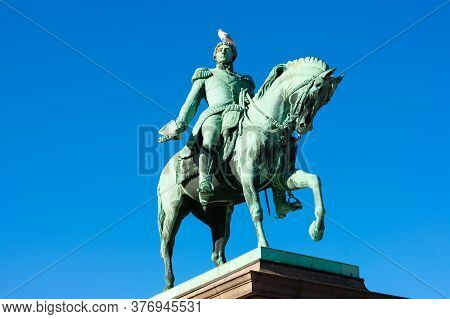 Oslo, Norway, September, 20, 2019: Equestrian Statue Of King Carl Xiv Johan With Seagull On Top Of H
