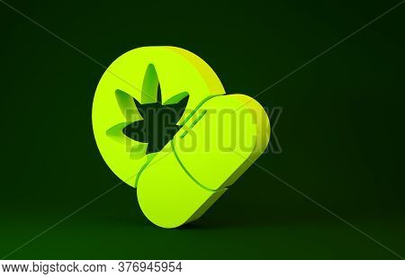 Yellow Herbal Ecstasy Tablets Icon Isolated On Green Background. Minimalism Concept. 3d Illustration