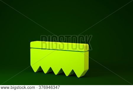 Yellow Sponge With Bubbles Icon Isolated On Green Background. Wisp Of Bast For Washing Dishes. Clean
