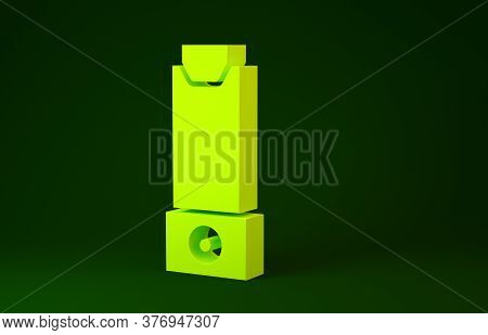 Yellow Inhaler Icon Isolated On Green Background. Breather For Cough Relief, Inhalation, Allergic Pa