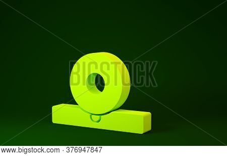 Yellow Otolaryngological Head Reflector Icon Isolated On Green Background. Equipment For Inspection