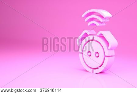 Pink Robot Vacuum Cleaner Icon Isolated On Pink Background. Home Smart Appliance For Automatic Vacuu