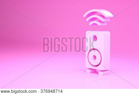 Pink Smart Stereo Speaker System Icon Isolated On Pink Background. Sound System Speakers. Internet O