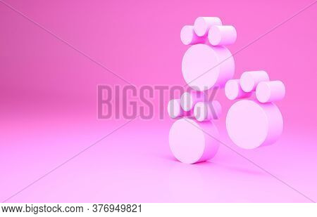 Pink Paw Print Icon Isolated On Pink Background. Dog Or Cat Paw Print. Animal Track. Minimalism Conc