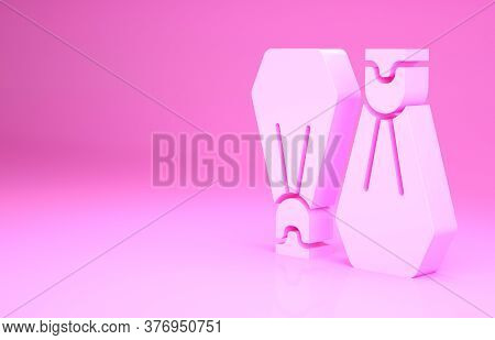 Pink Rubber Flippers For Swimming Icon Isolated On Pink Background. Diving Equipment. Extreme Sport.