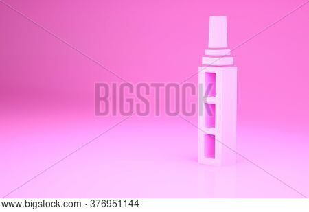 Pink Skyscraper Icon Isolated On Pink Background. Metropolis Architecture Panoramic Landscape. Minim