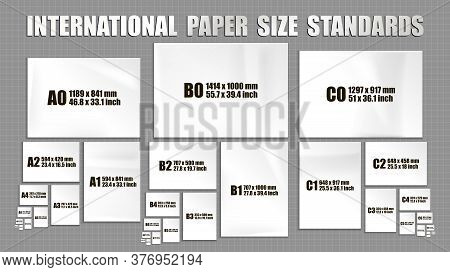 Full Set Of International Iso Format Standards Of Paper Sheets Series A, B, C. Mock Up Of Realistic
