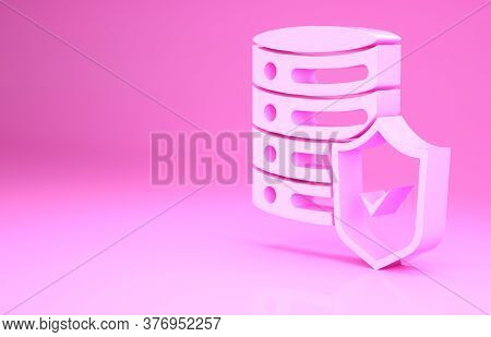Pink Server With Shield Icon Isolated On Pink Background. Protection Against Attacks. Network Firewa