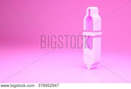 Pink Pipette Icon Isolated On Pink Background. Element Of Medical, Chemistry Lab Equipment. Pipette