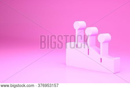 Pink Acupuncture Therapy Icon Isolated On Pink Background. Chinese Medicine. Holistic Pain Managemen