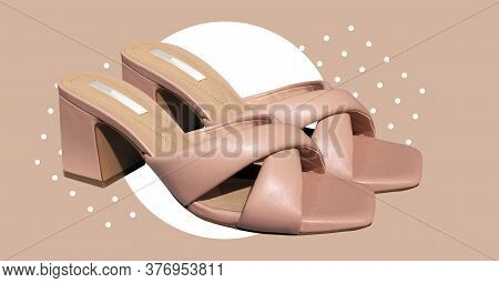 Elegant Fashionable Summer Leather High-heel Stylish Women's Sandals. Composition Of Clothes. Summer