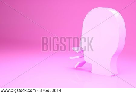 Pink Man Coughing Icon Isolated On Pink Background. Viral Infection, Influenza, Flu, Cold Symptom. T