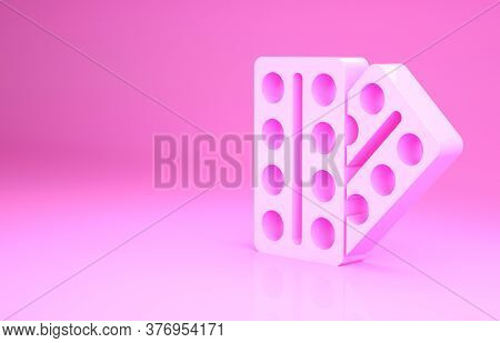 Pink Pills In Blister Pack Icon Isolated On Pink Background. Medical Drug Package For Tablet, Vitami