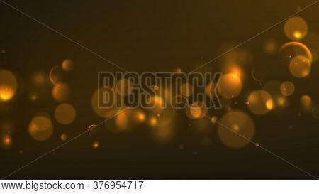 Abstract Background With Effect Bokeh. Vector Illustration With Effect Bokeh On Dark Background.