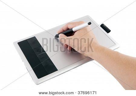 He Writes Digital Whiteboard And Draw.