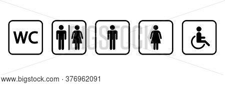 Wc Sign Icon Set. Toilet Symbol. Washroom Vector Icons Isolated On White Background.