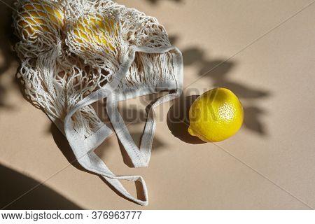 Zero Waste Bag With Lemon. Summer Season. Organic Fruit. Healthy Lifestyle. Zero Waste Concept.