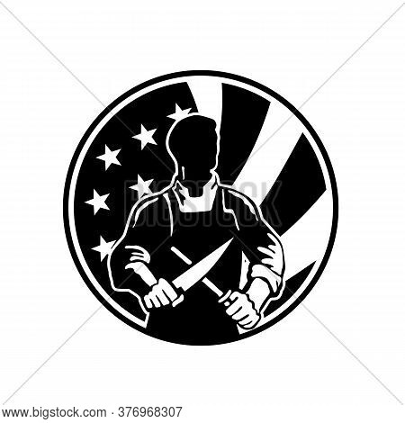 Icon Retro Style Illustration Of An American Butcher Sharpening Knife Viewed From Front  With United