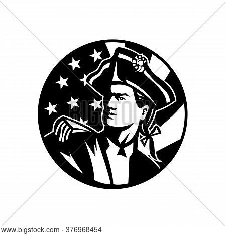 Black And White Illustration Of An American Patriot Revolutionary Soldier Looking Up With Usa Star S