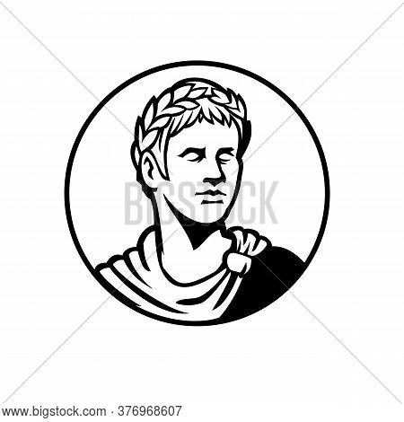 Mascot Black And White Illustration Of Bust Of An Ancient Roman Emperor, Senator Or Caesar, Ruler Of