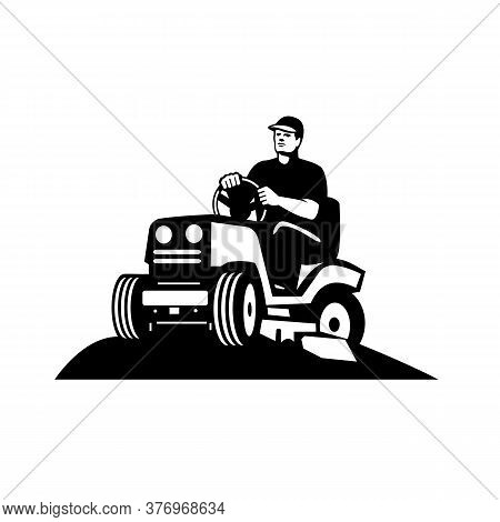 Illustration Of Retro Style Male Gardener, Landscaper, Groundsman Or Groundskeeper Riding Ride-on La