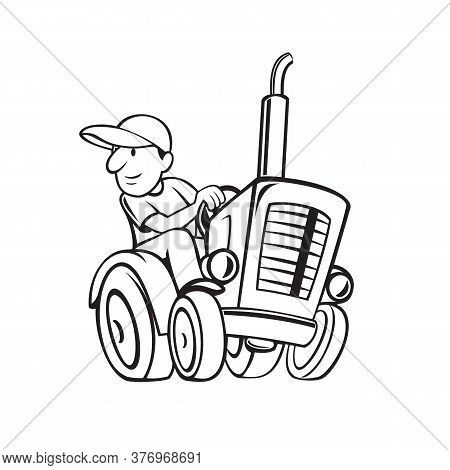 Black And White Cartoon Style Illustration Of Farmer Or Gardener Riding And Driving A Vintage Farm T