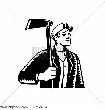 Illustration Of Male Farmer, Gardener, Landscaper Or Horticulturist Holding Grub Hoe Looking To The