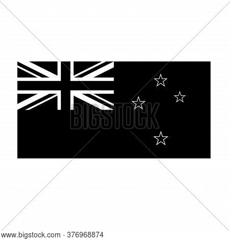 Black And White Or Monochrome Flag Of The State,  Nation Or Country Of New Zealand On Isolated Backg