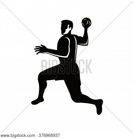 Retro Style Illustration Of A Handball Player Jumping Throwing Ball On Isolated Background Done In R