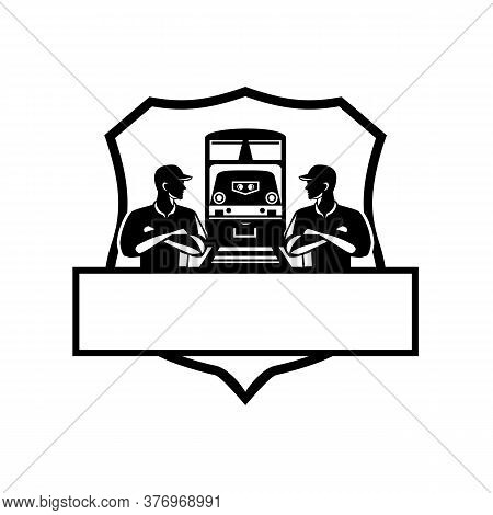 Illustration Of Train Engineers With Arms Crossed Looking At Each Other With Diesel Train On Rail Tr